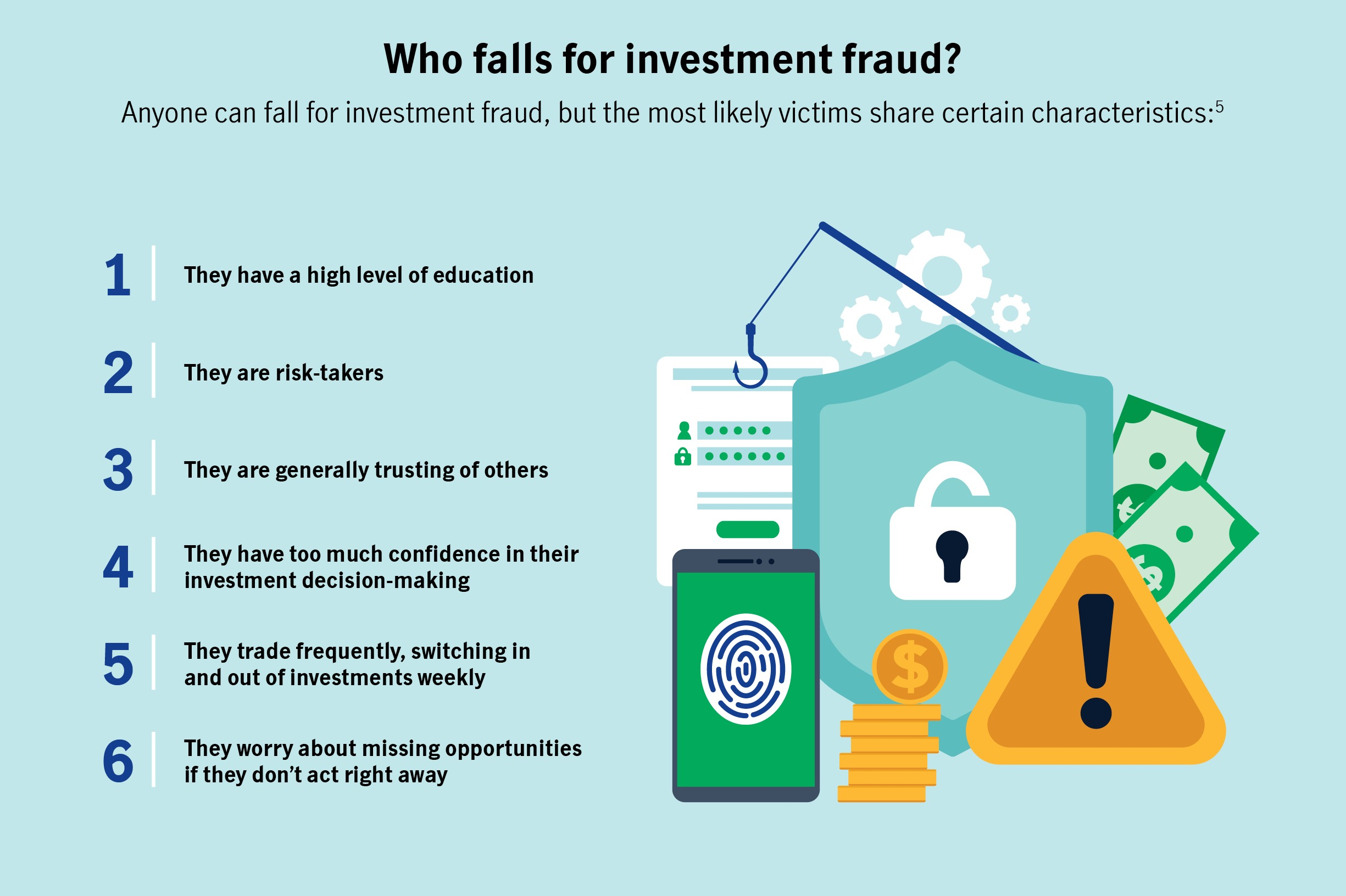 Who falls for investment fraud? Anyone can fall for investment fraud, but the most likely victims share certain characteristics.
