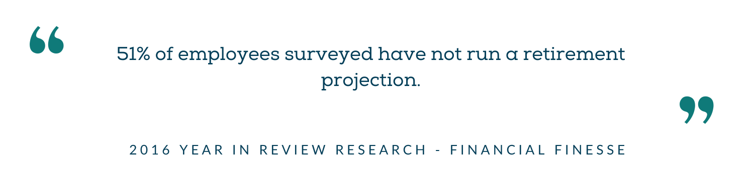 51% of employees surveyed have not run a retirement projection