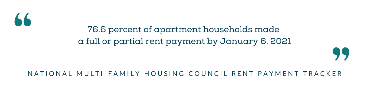 NMHC rent payment tracker - 76.6 percent of apartment households made a full or partial rent payment by 1/6/21