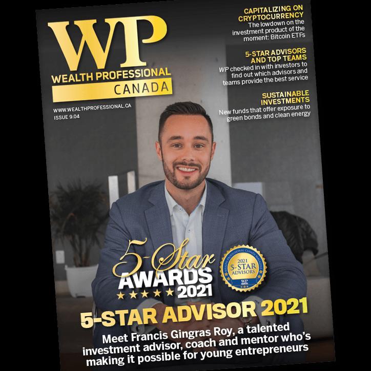 Francis on cover of WP Canada magazine - 5 Star Advisor 2021