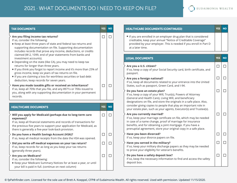 what financial documents do I need to keep on file