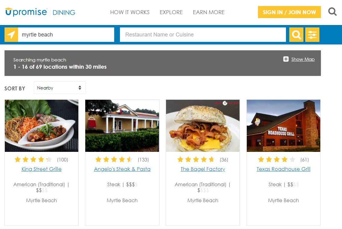 Upromise Dining Search