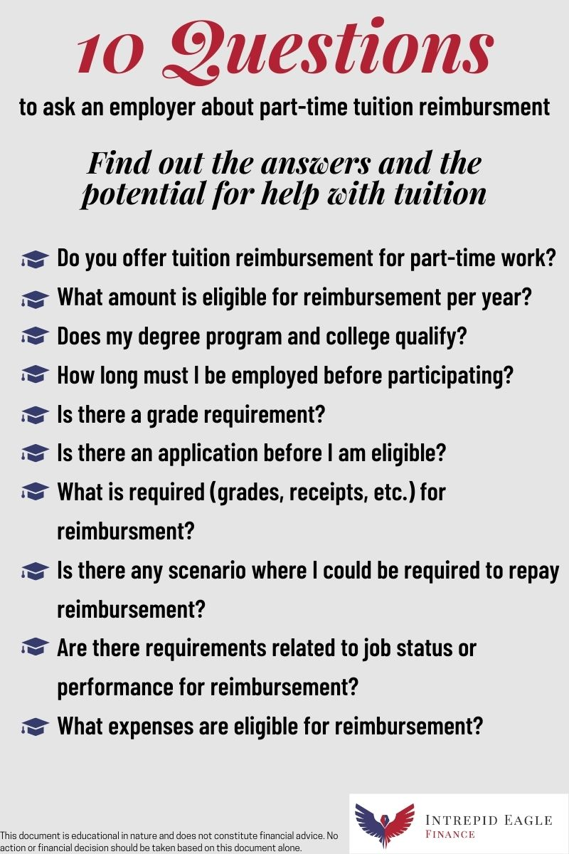 Questions to ask about Part-Time Tuition Reimbursement