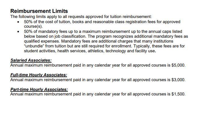 Example of Tuition Reimbursement Levels