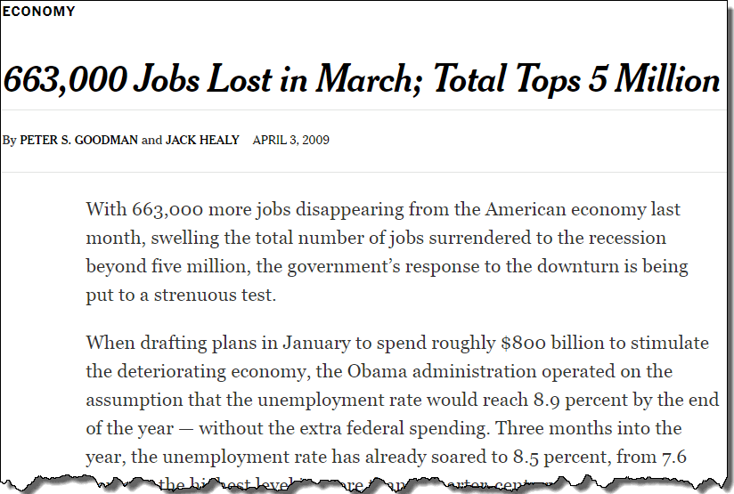 lost jobs in the economy