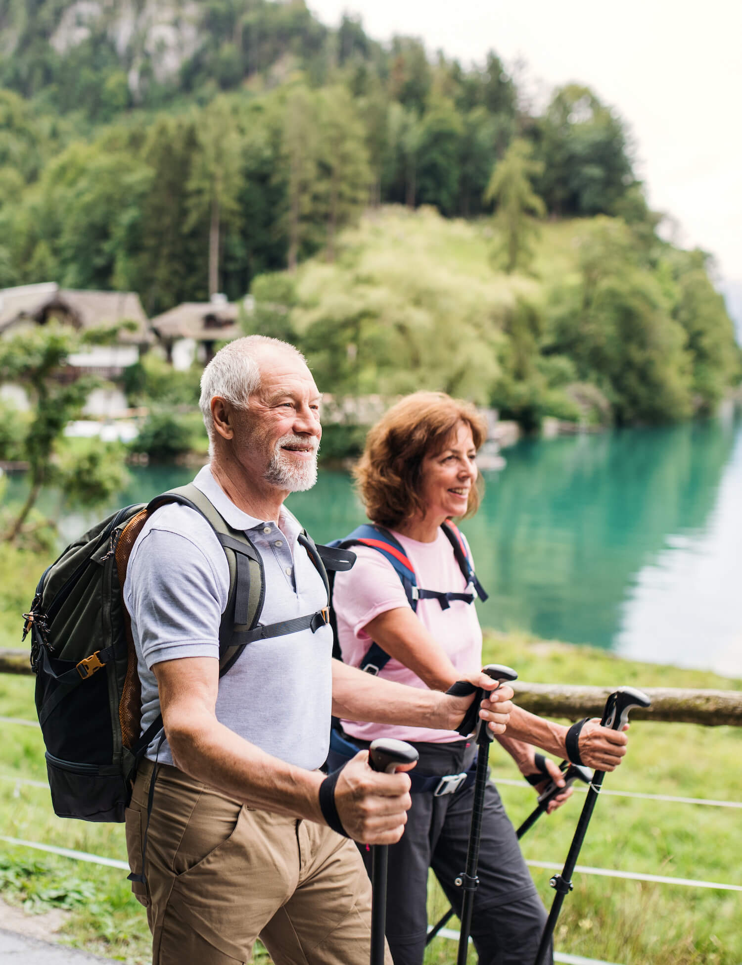 Adult couple hiking