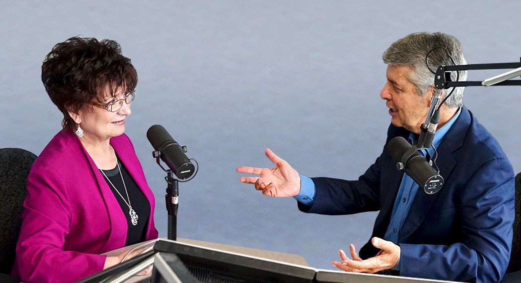 Linda Gardner and Ed Greene discuss retirement topics in the radio studio