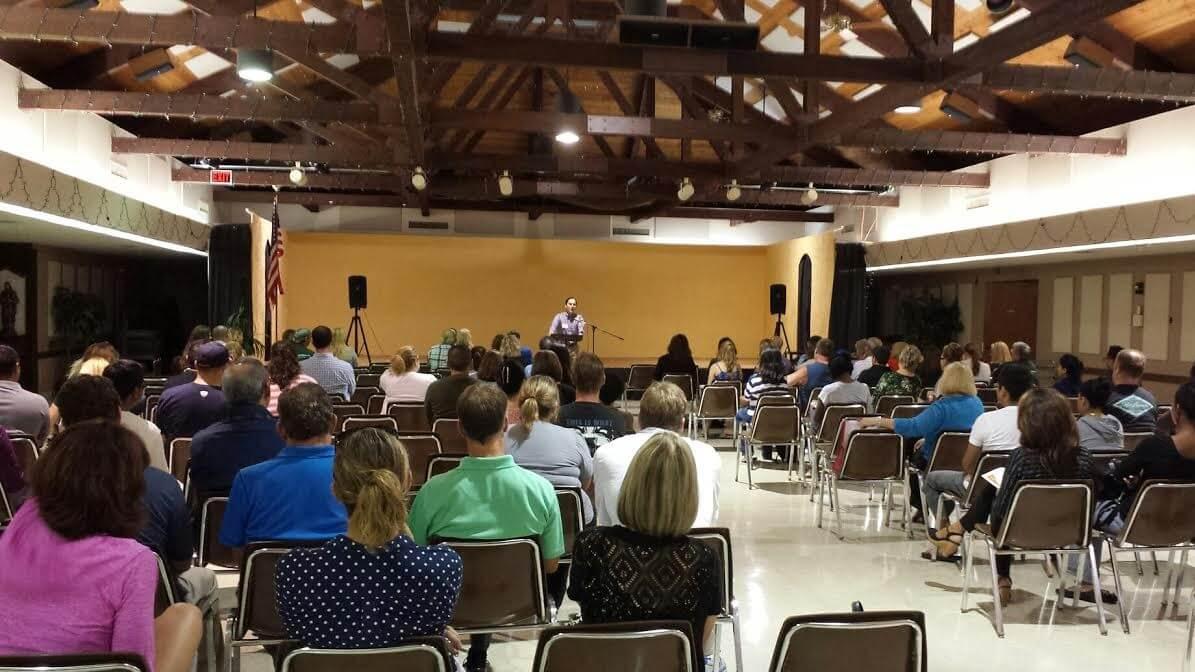 Curtis speaking at St Pat PTO