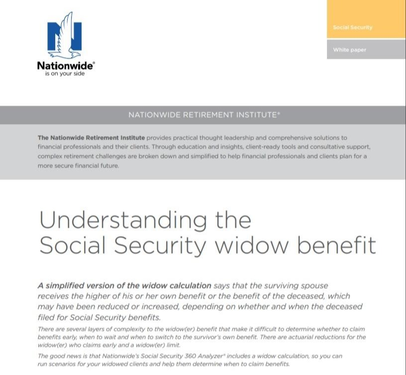Understanding the Social Security Widow Benefit (Nationwide White Paper) Thumbnail
