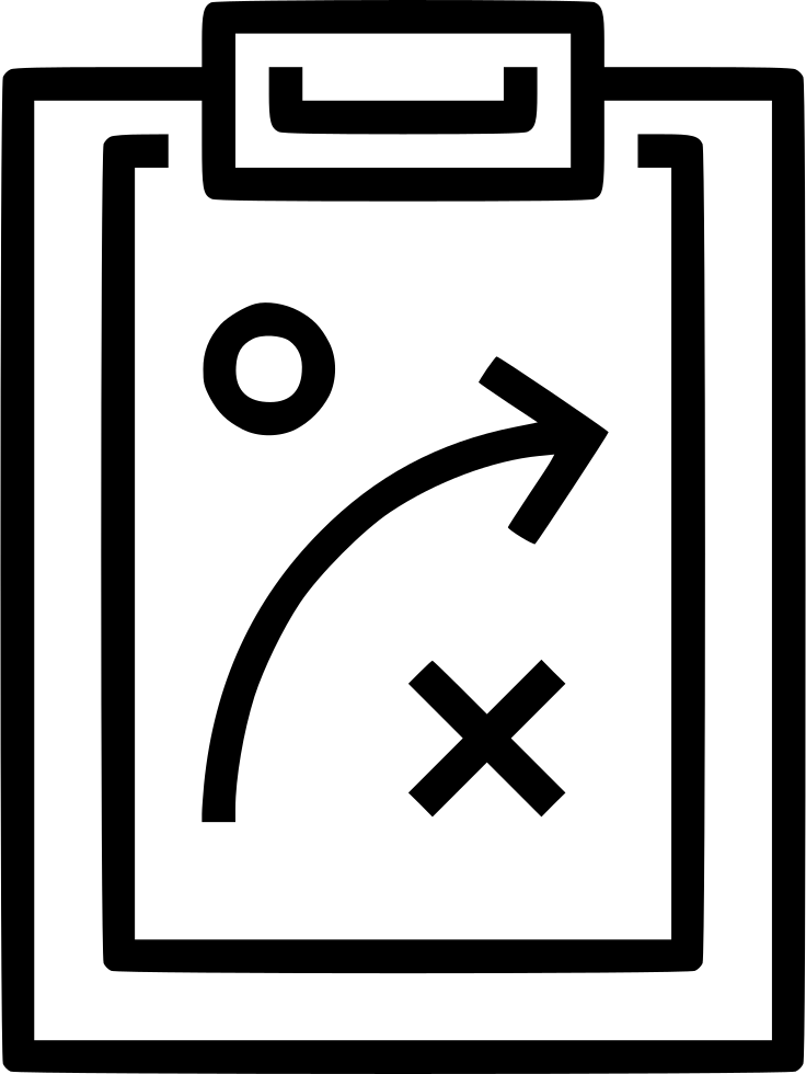 clipboard with game plan drawing