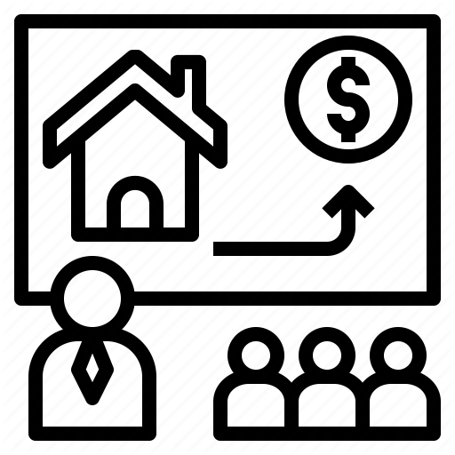 four figures with a house drawing and an arrow pointing to money