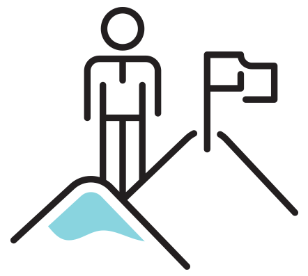 animated figure standing on mountain peak
