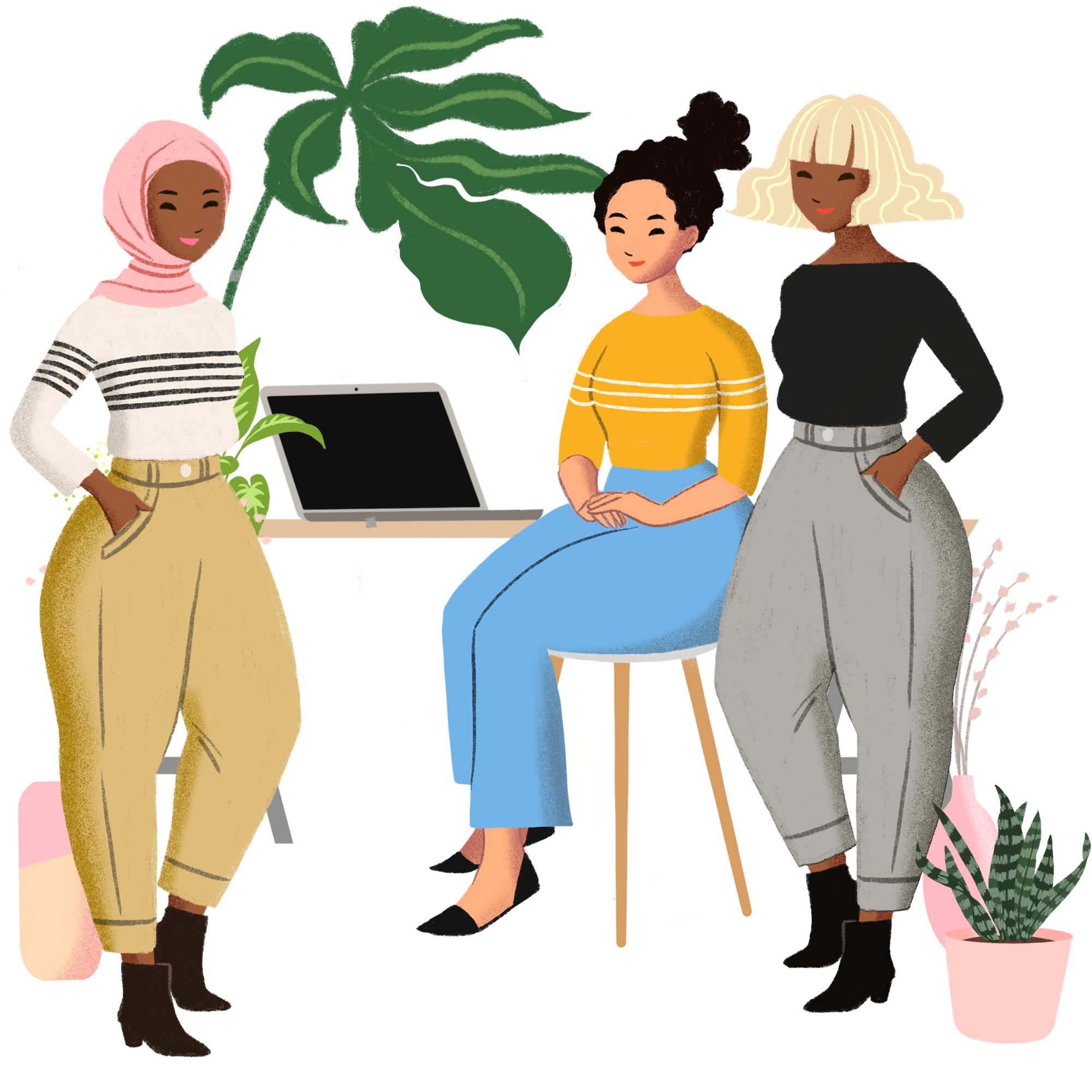 Illustration of 3 women of various races sitting at a table with a laptop   Woman investors New Orleans, LA deMauriac Financial Consulting & Wealth Management