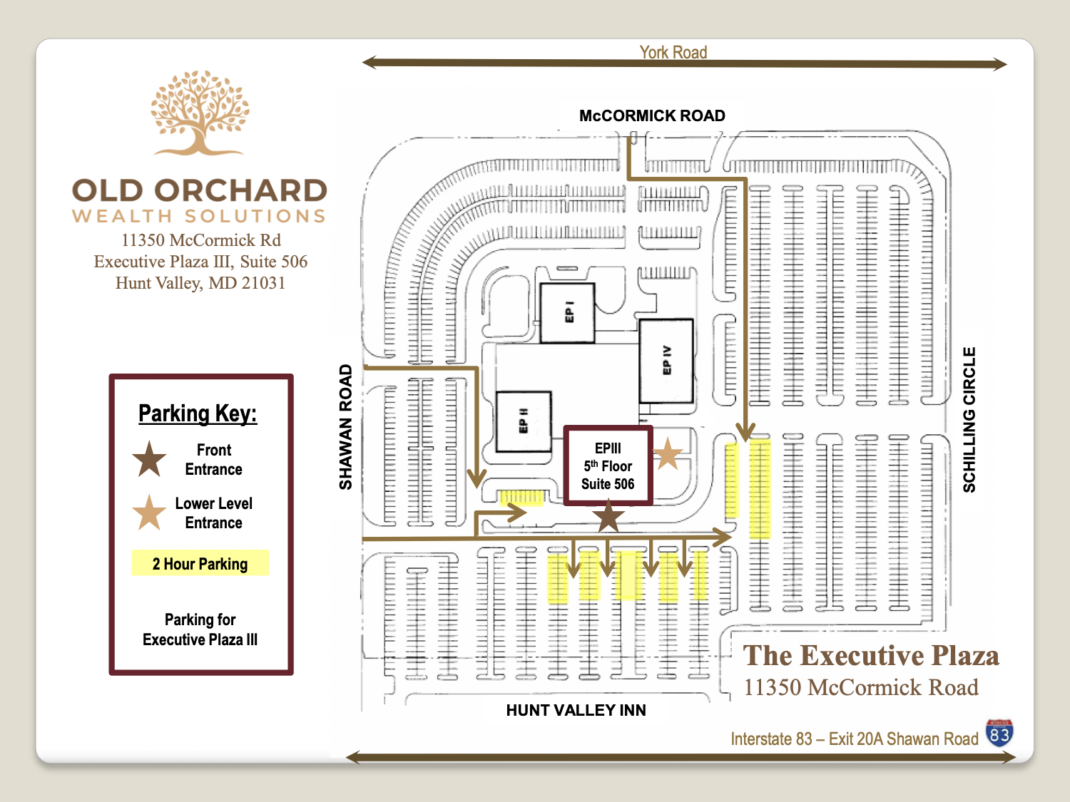 Parking map Baltimore, MD, Old Orchard Wealth Solutions