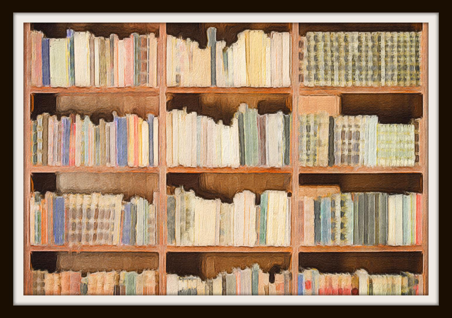 framed painting of bookshelf