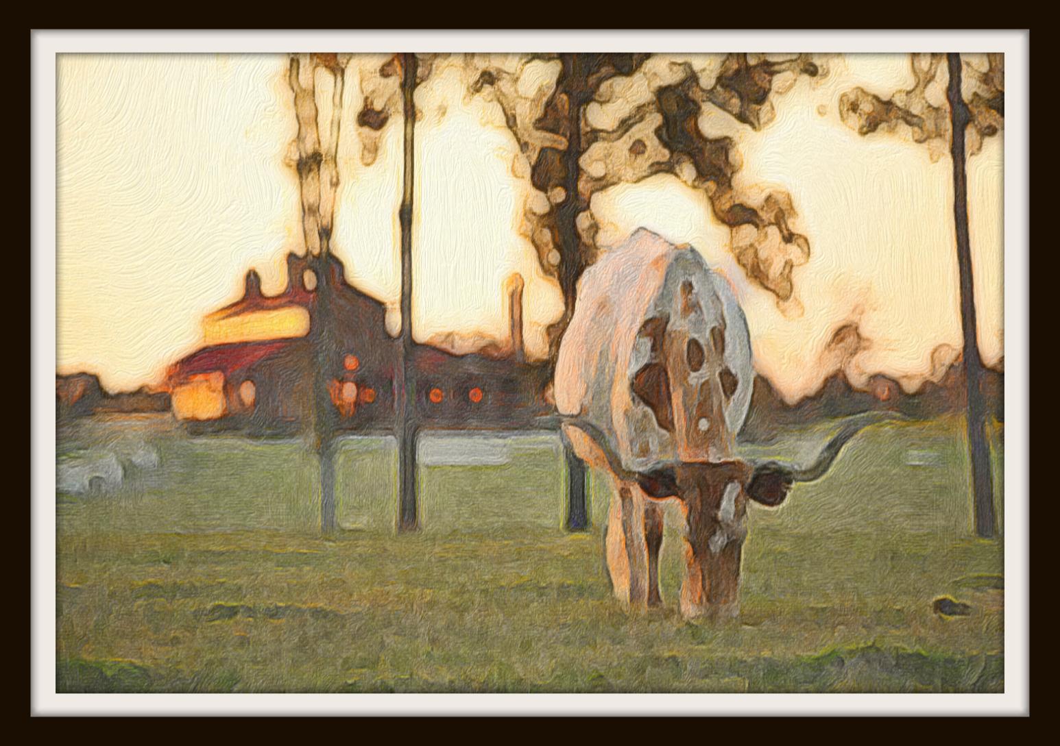 framed painting of steer