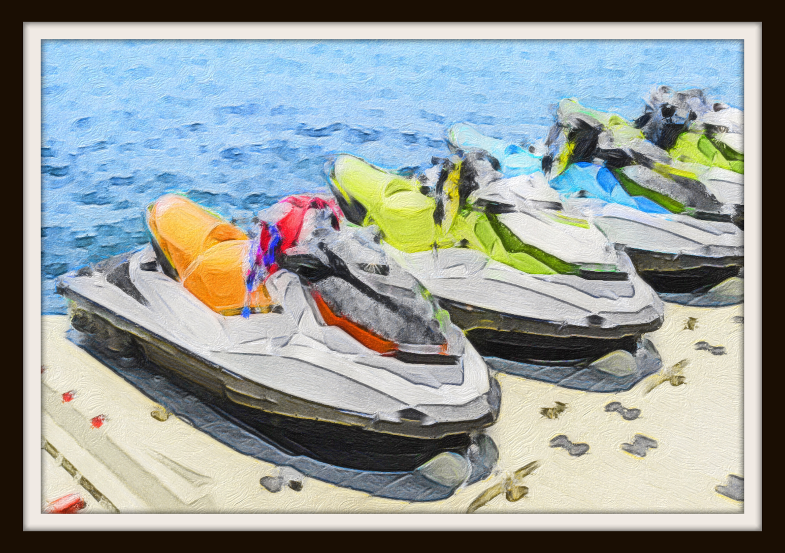 framed painting of jetskis