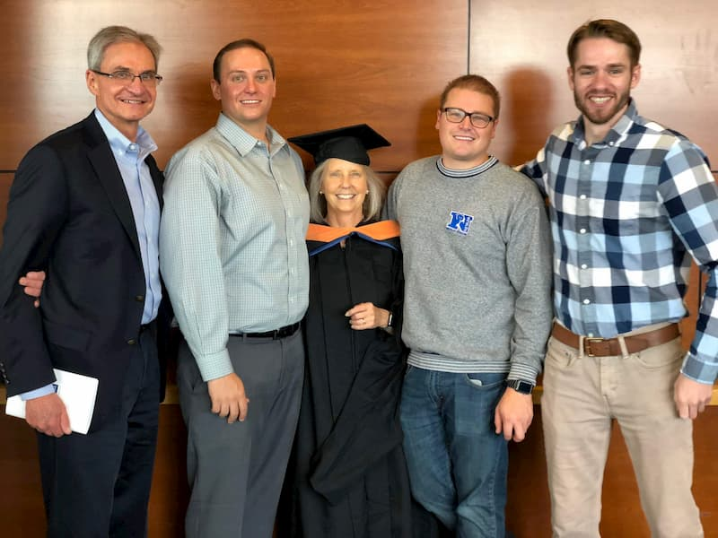 Joe, Eric, Robin, Jacob, Adam at MSNursing graduation from University of Nevada, Reno