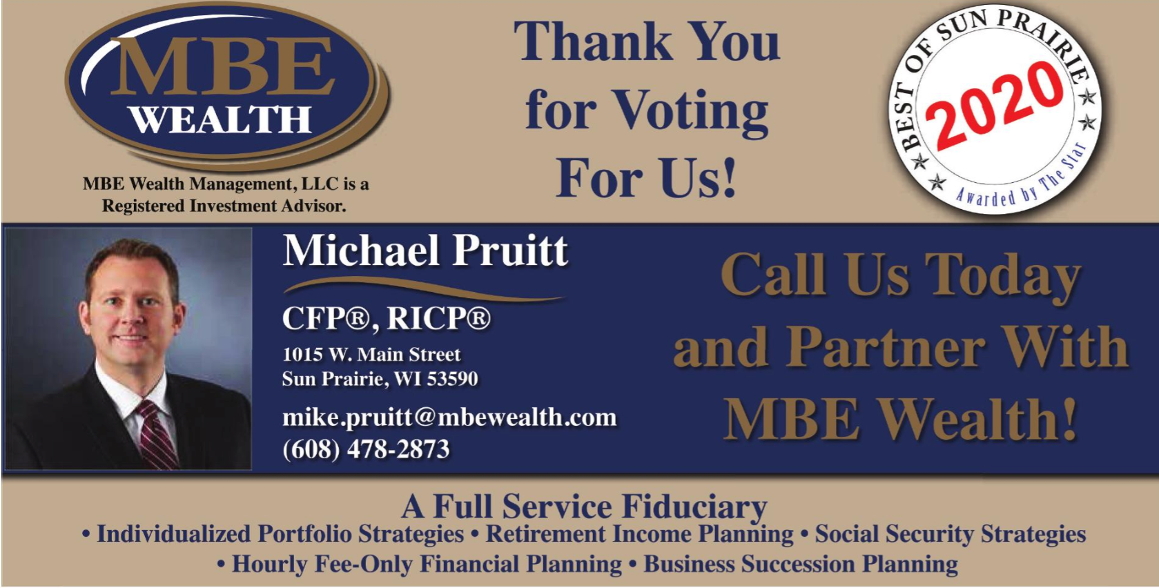 "MBE Wealth's Mike Pruitt voted ""Best Financial Advisor 2020"" in Sun Prairie Star's Annual 'Best of Sun Prairie' Thumbnail"