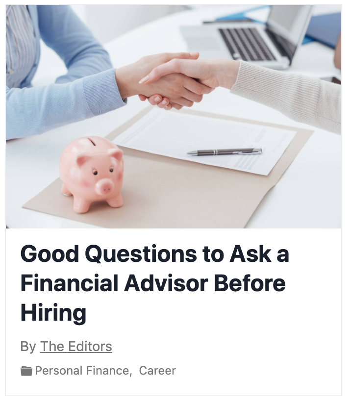 The experts (including our very own Brian Carney) weigh in on the best questions to ask a Financial Advisor before hiring.  Thumbnail