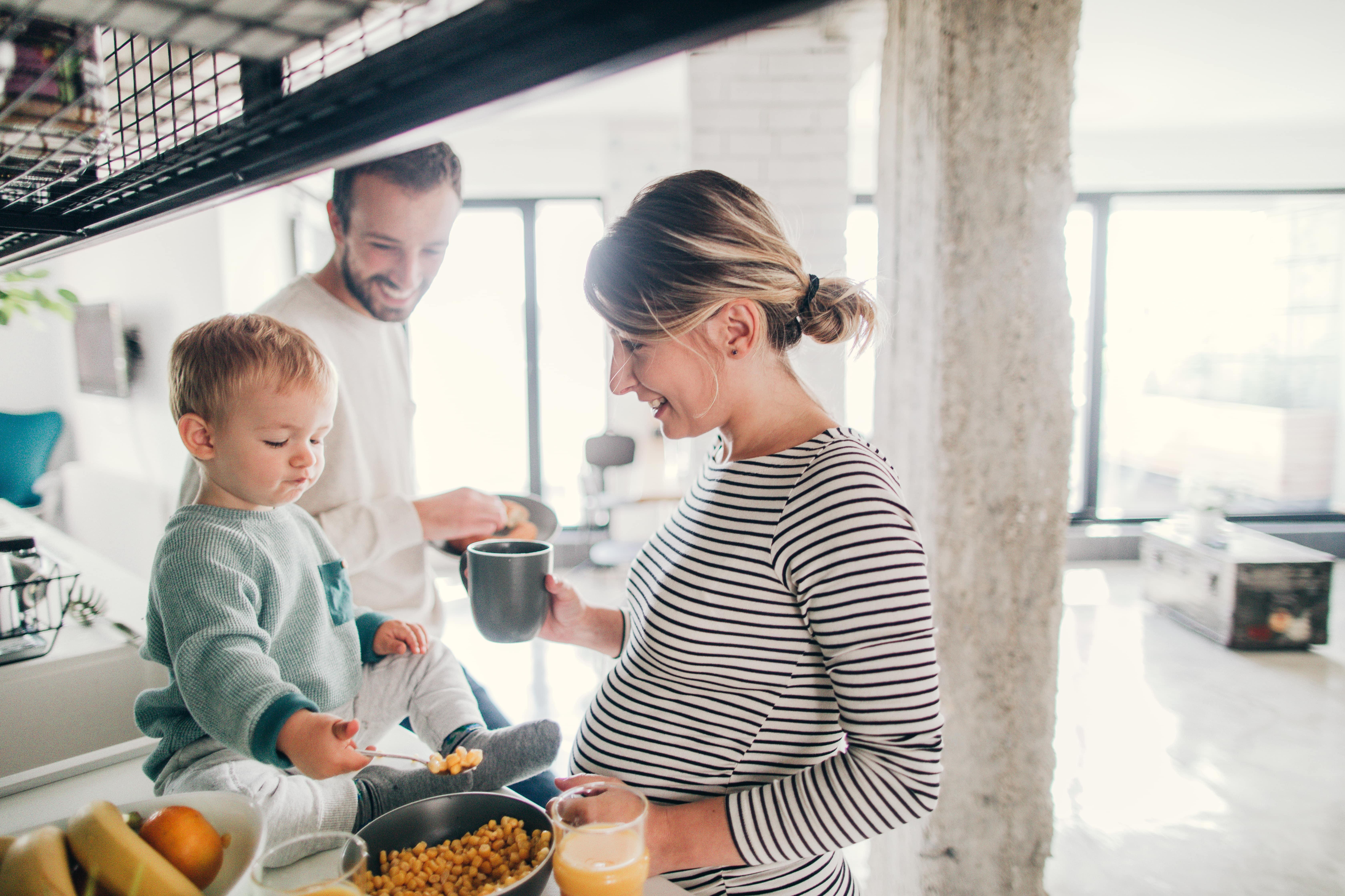 Family making breakfast