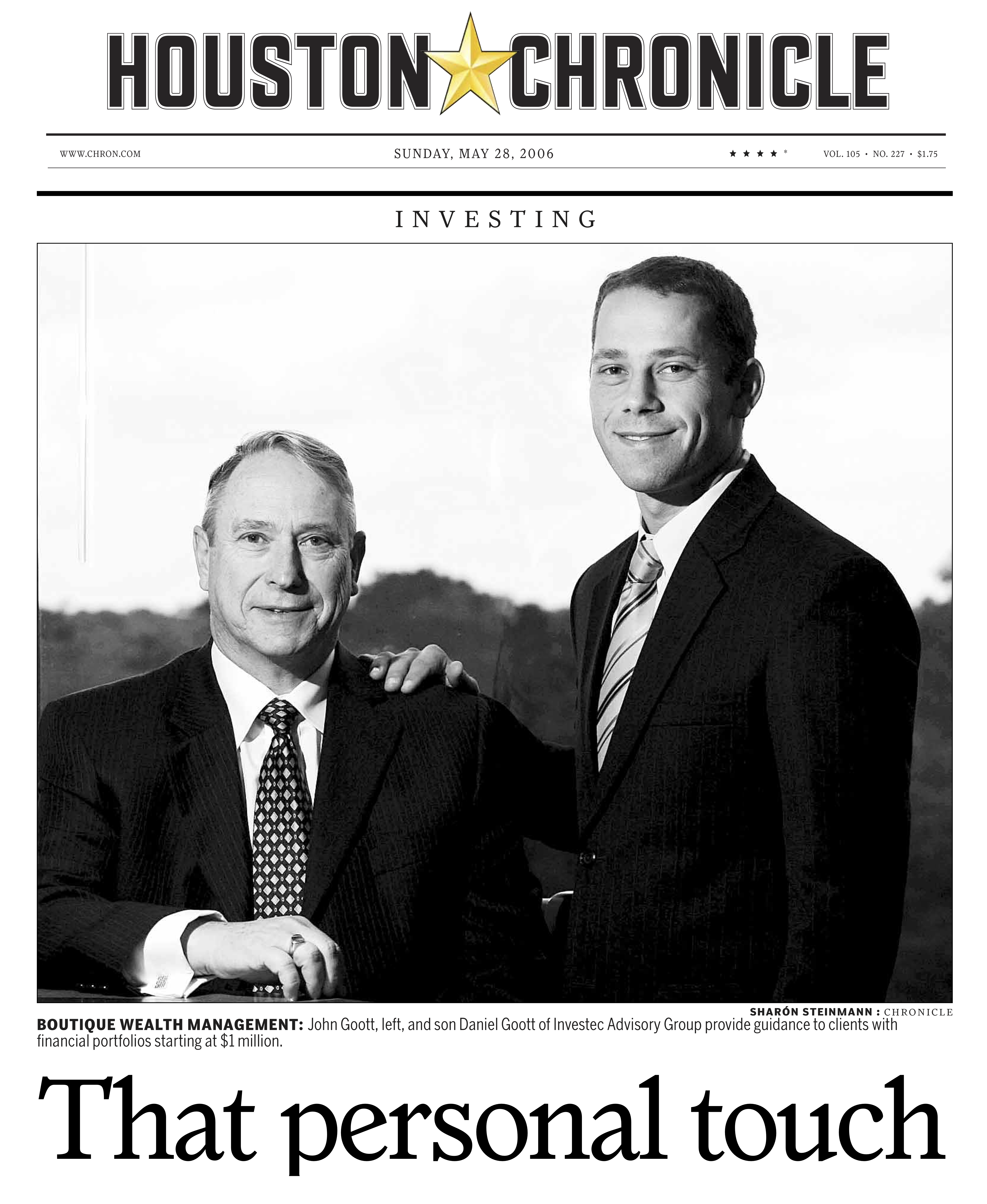 Investec - Houston Chronicle Press Feature: That Personal Touch, 2006