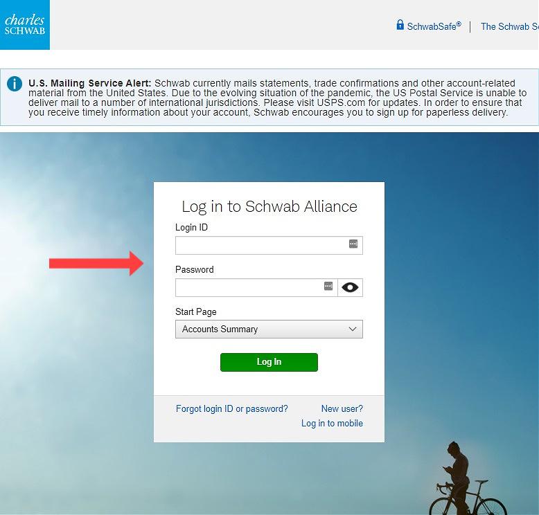 Schwab Alliance - Login Page
