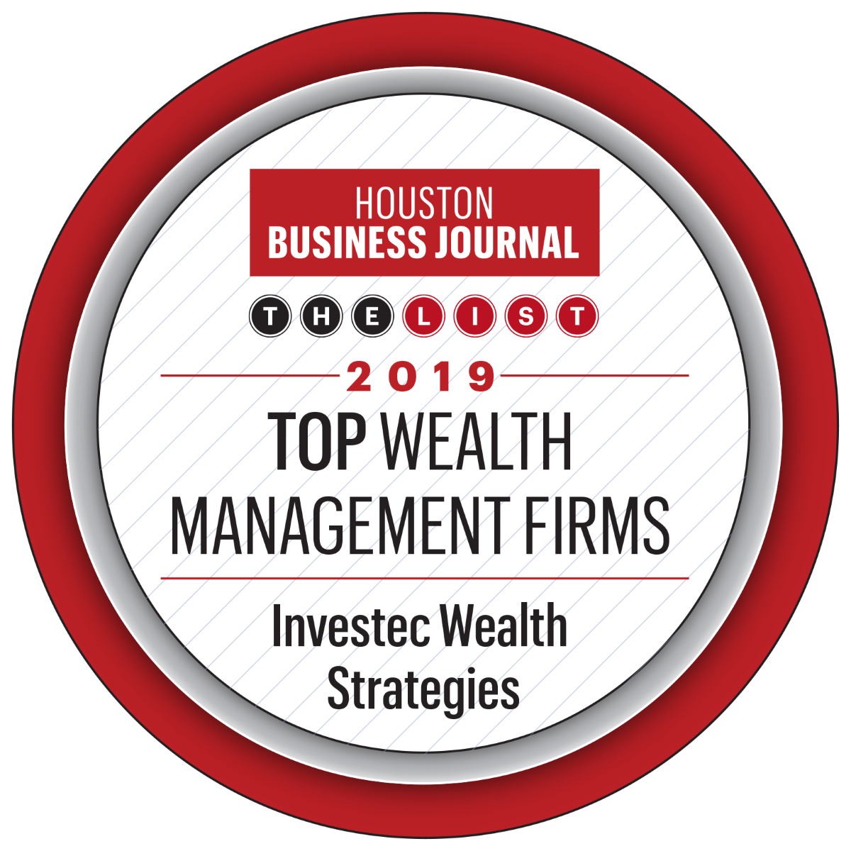Investec - Houston Business Journal Top Wealth Management Firms, 2019