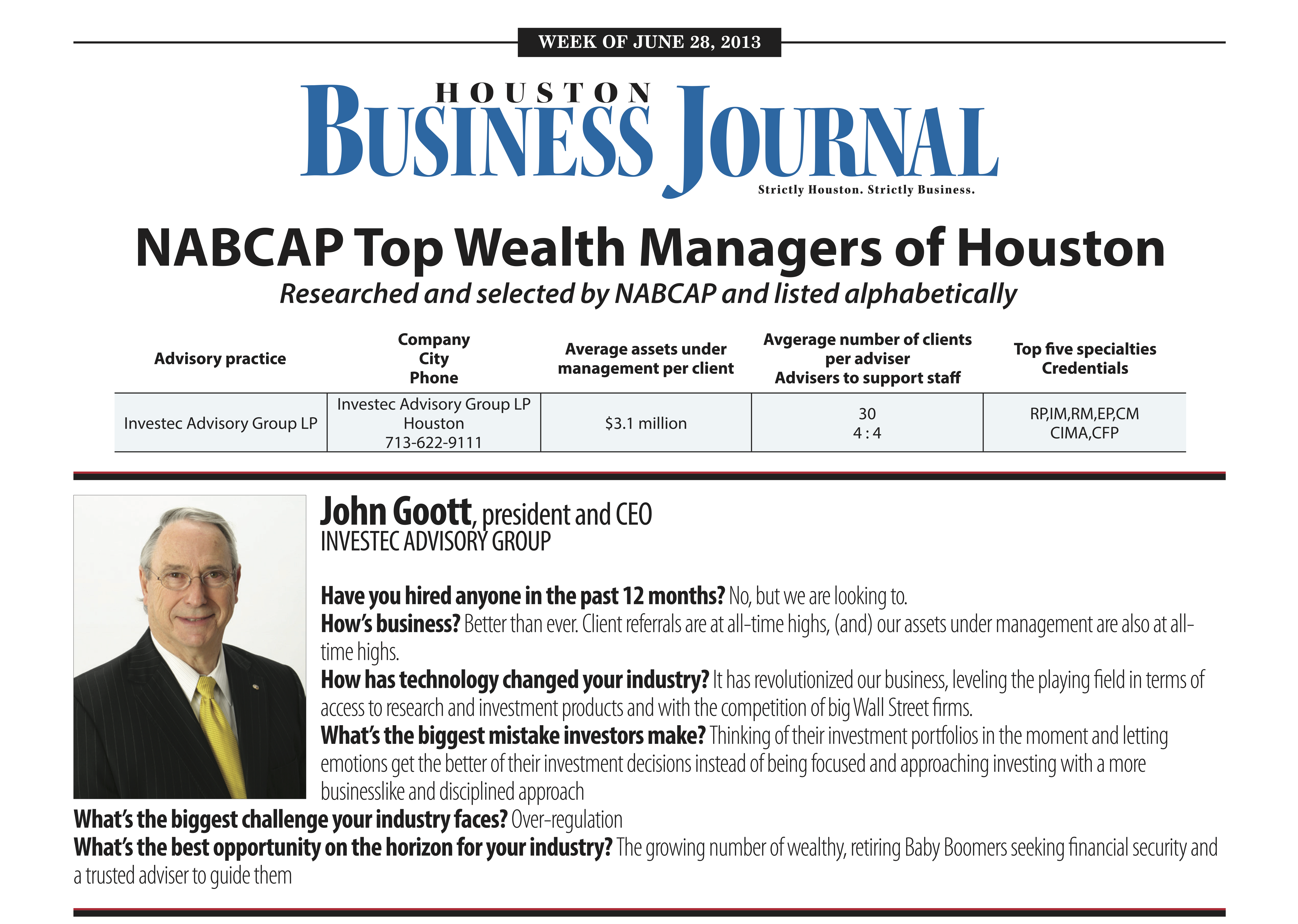 Investec - Houston Business Journal NABCAP Top Wealth Managers of Houston, 2013