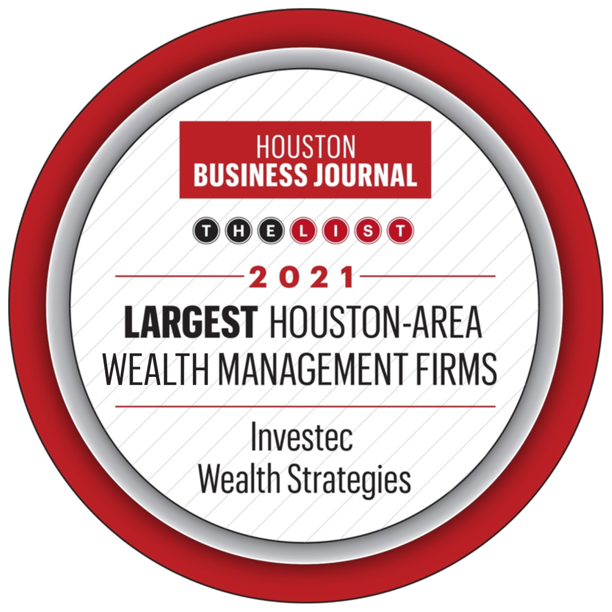 Investec - Houston Business Journal Largest Houston-Area Wealth Management Firms, 2021