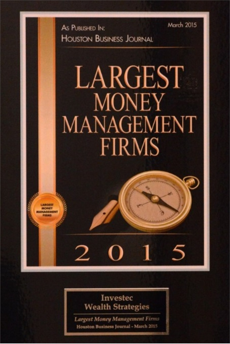 Investec - Houston Business Journal Largest Money Management Firms, 2015
