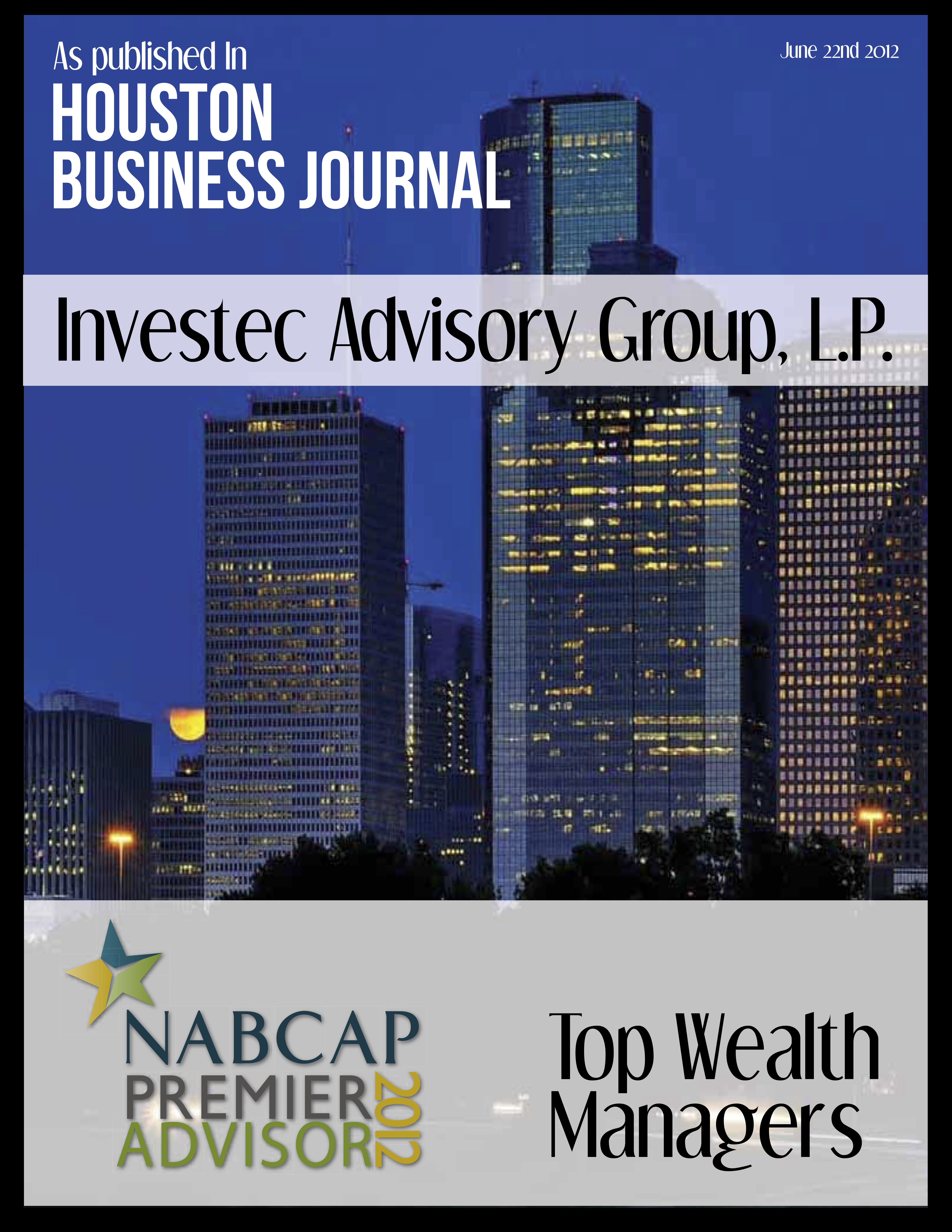 Investec -Houston Business Journal NABCAP Top Wealth Managers of Houston, 2012