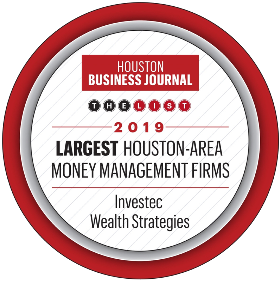 Investec - Houston Business Journal Largest Houston-Area Money Management Firms, 2019