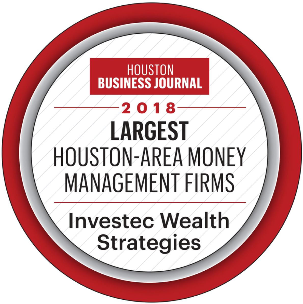 Investec - Houston Business Journal Largest Houston-Area Money Management Firms, 2018