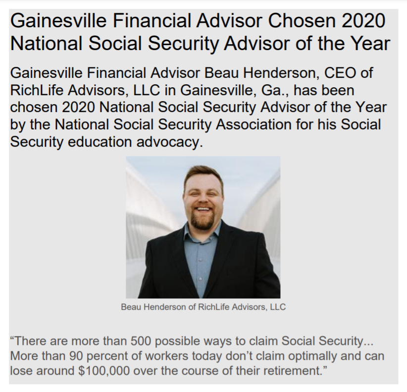 [PRESS RELEASE] Gainesville, GA Financial Advisor Chosen 2020 National Social Security Advisor of the Year Thumbnail
