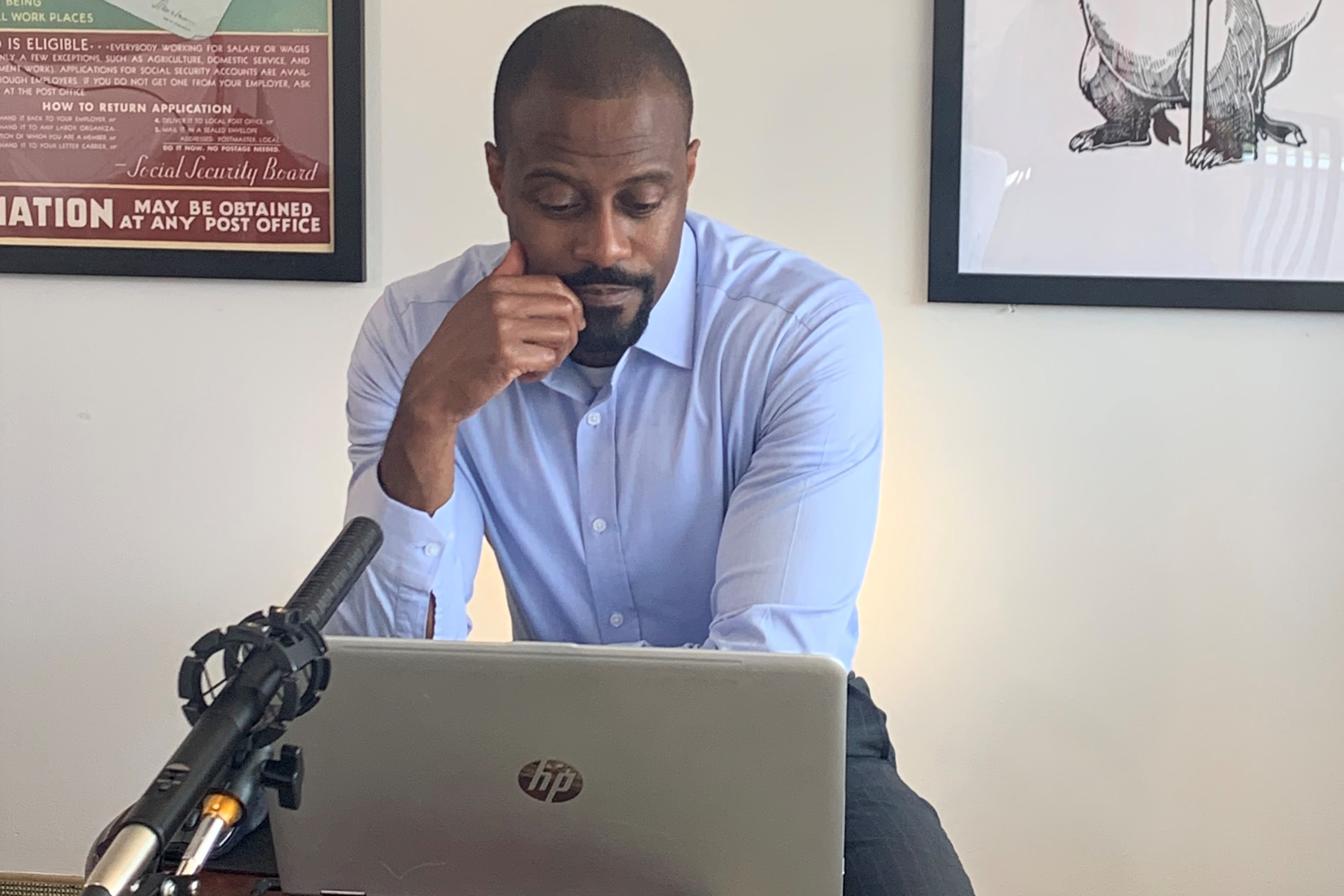 Donald pictured working on his laptop