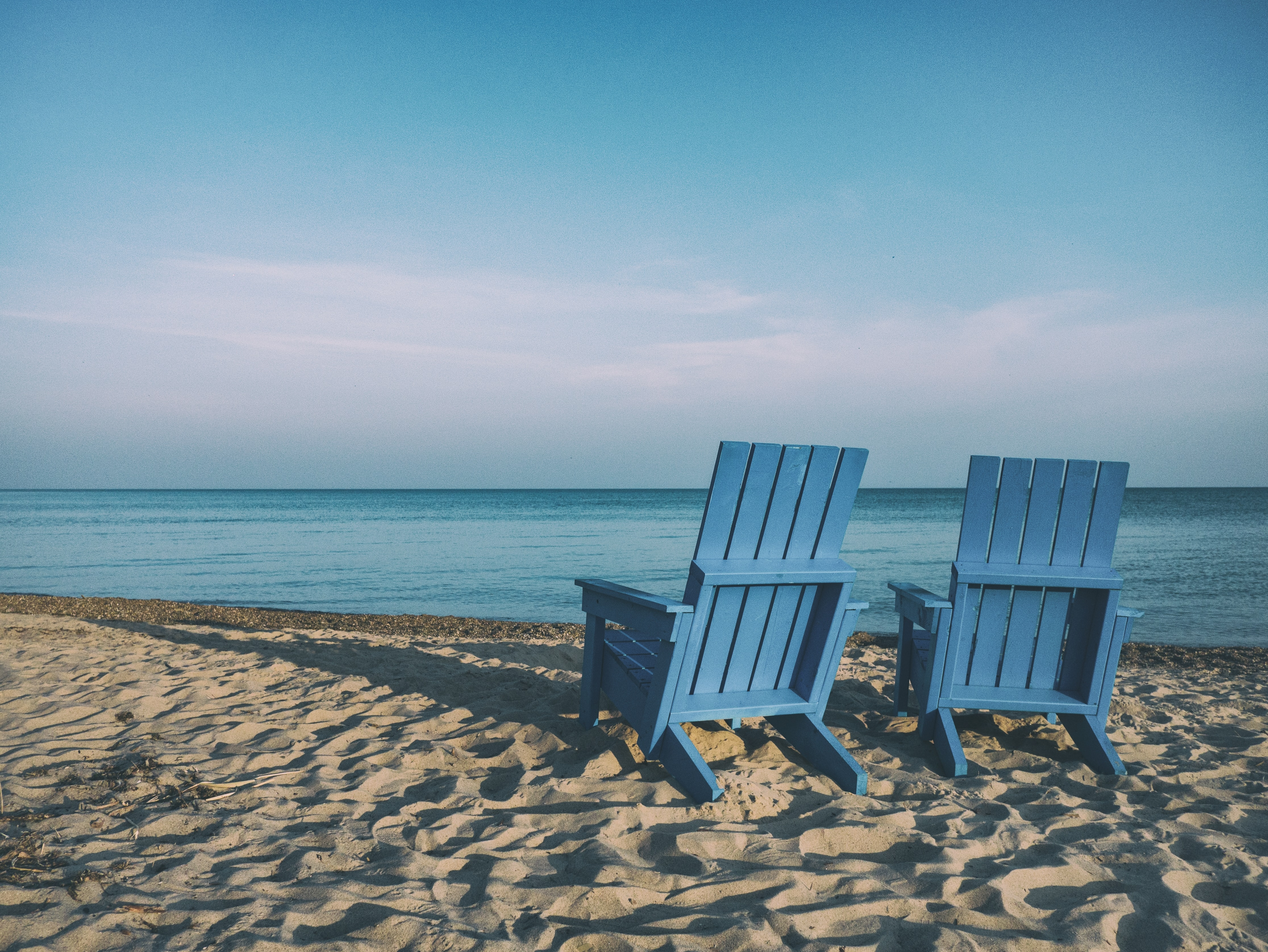 Beach chairs on retirement vacation