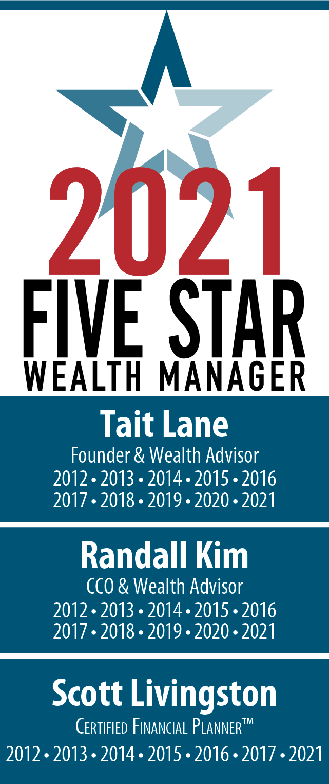 2021 Five Star Wealth Managers, Tait Lane, Randall Kim, Scott Livingston