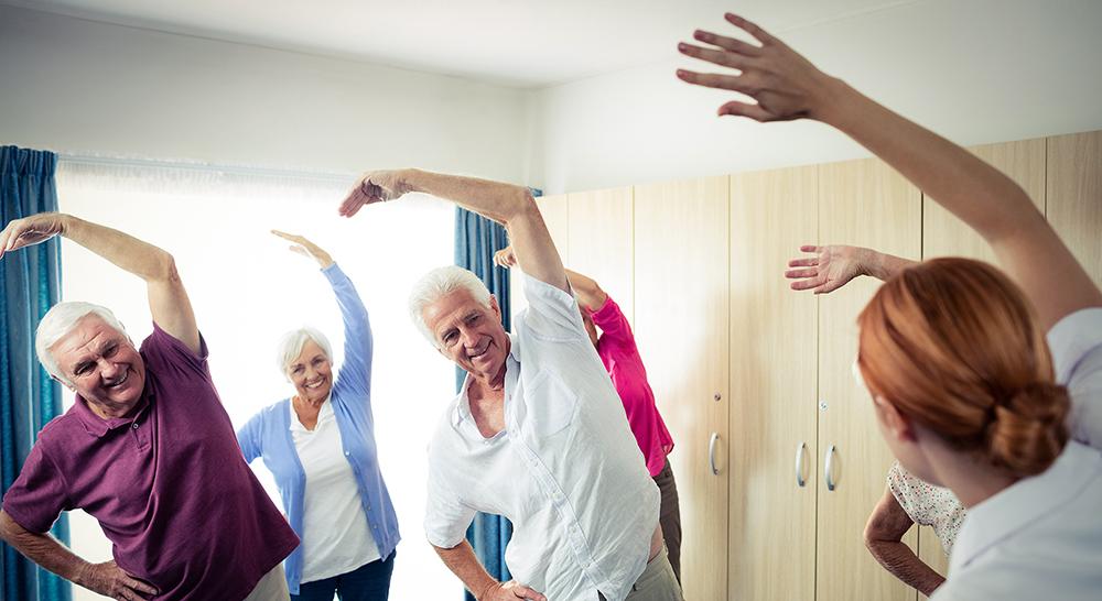 Elderly yoga class
