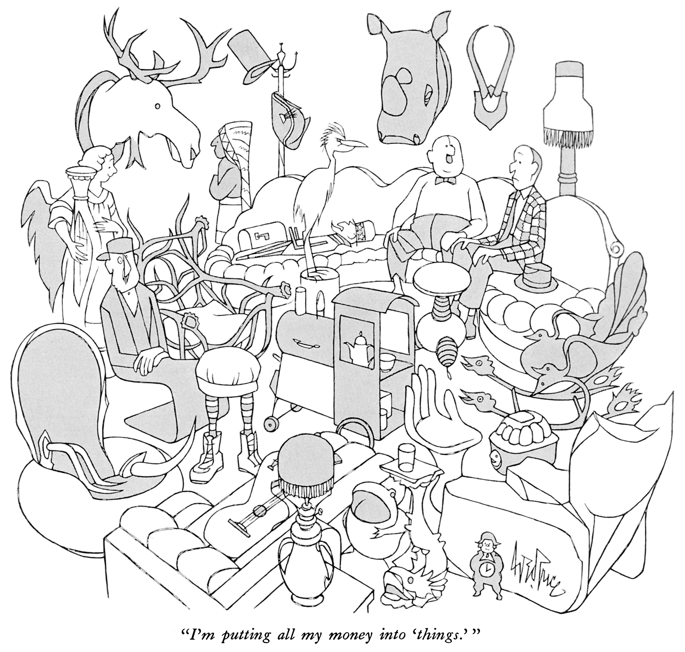 cartoon men in cluttered room