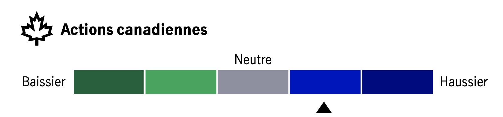 Ce tableau contient du texte accompagnant les diagrammes de chaleur pour six grandes catégories d'actifs: actions canadiennes, actions américaines, actions internationales (marchés développés et marchés émergents) et titres à revenu fixe (souverains des marchés développés et crédit aux entreprises américaines). Les diagrammes de chaleur, évaluant les perspectives d'Investissements Manuvie de haussier à baissier, indiquent une vue inférieure à la neutralité sur les six catégories d'actifs, ainsi que des justifications détaillées pour chaque position.