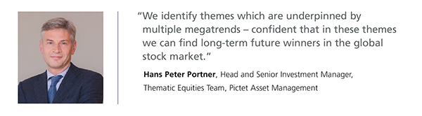 Photo of Hans Peter Portner. Quote: We identify themes which are underpinned by multiple megatrends - confident that in these themes we can find long-term future winners in the global stock market.