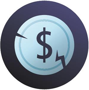 broken coin icon