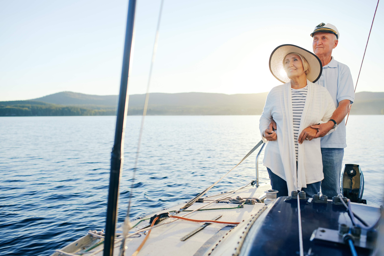 Older couple sailing