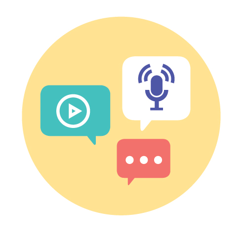icon with play video, mic images