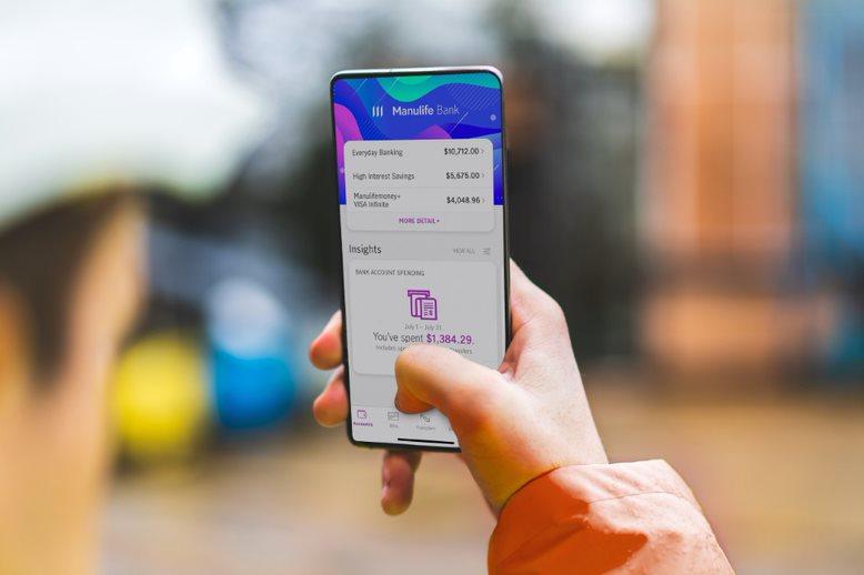 Image d'ecran d'un cellulaire avec l'application de Banque Manuvie