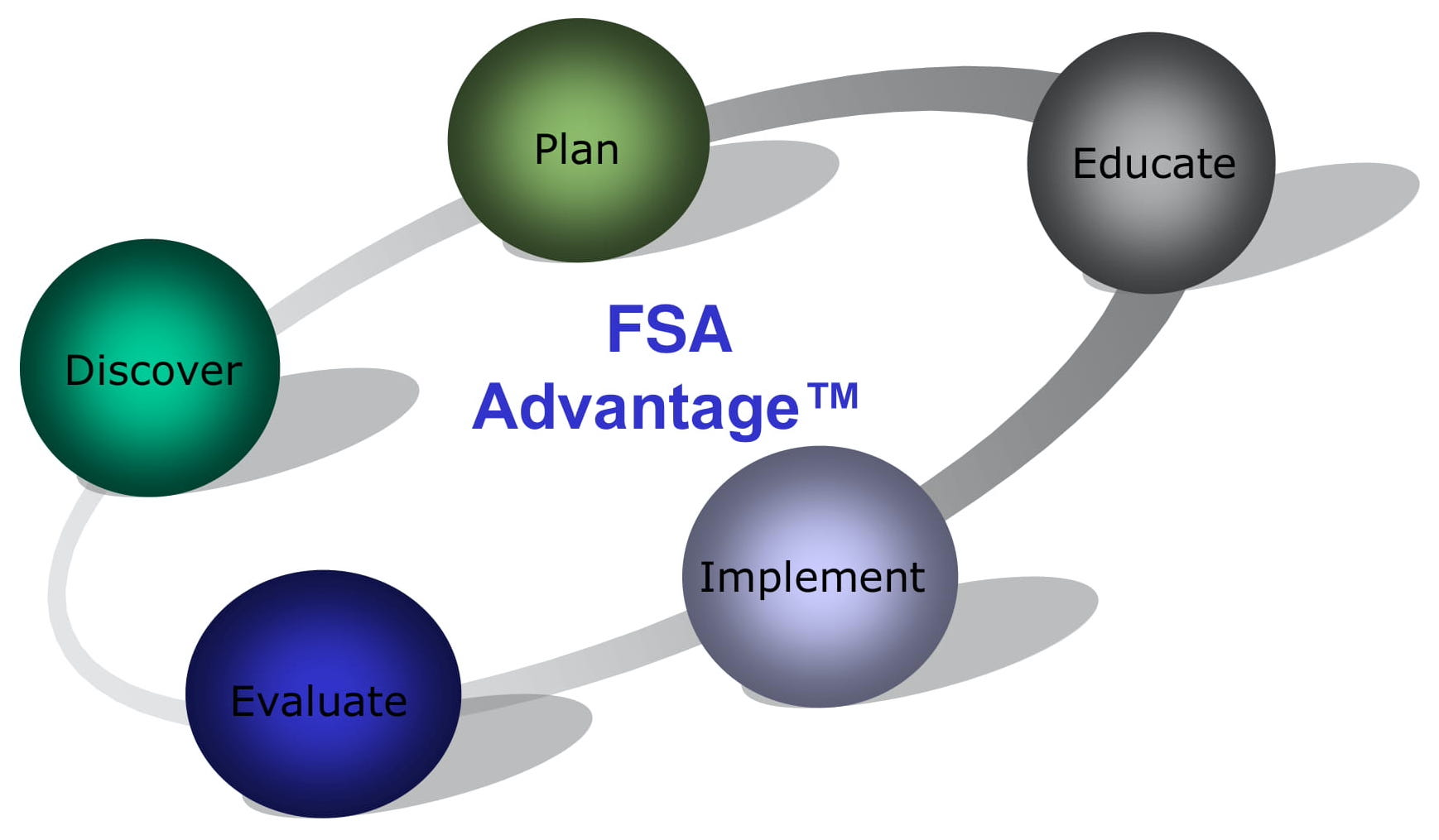 The FSA Advantage cycle continuously flowing from one step to the next.