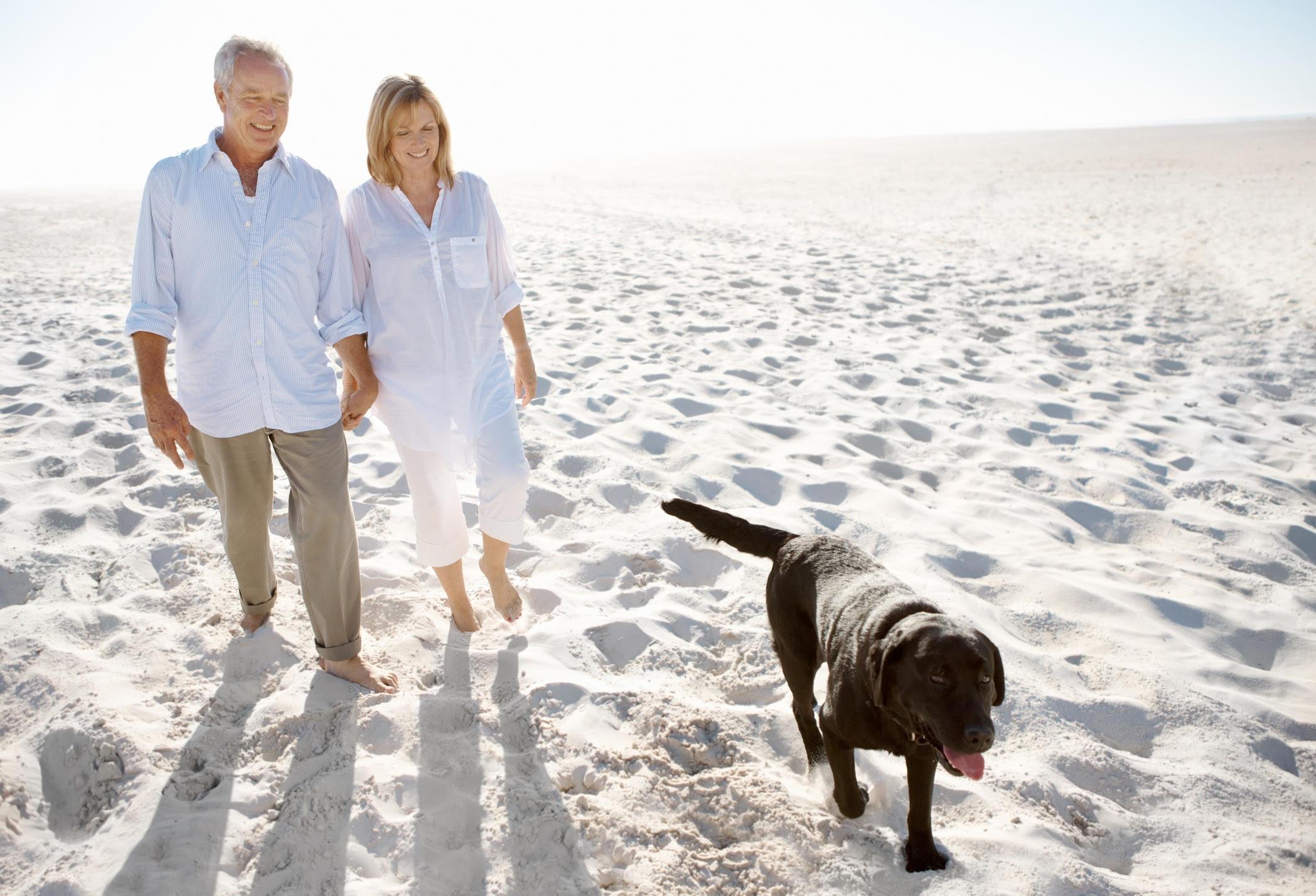 Elderly couple on a beach with their dog.