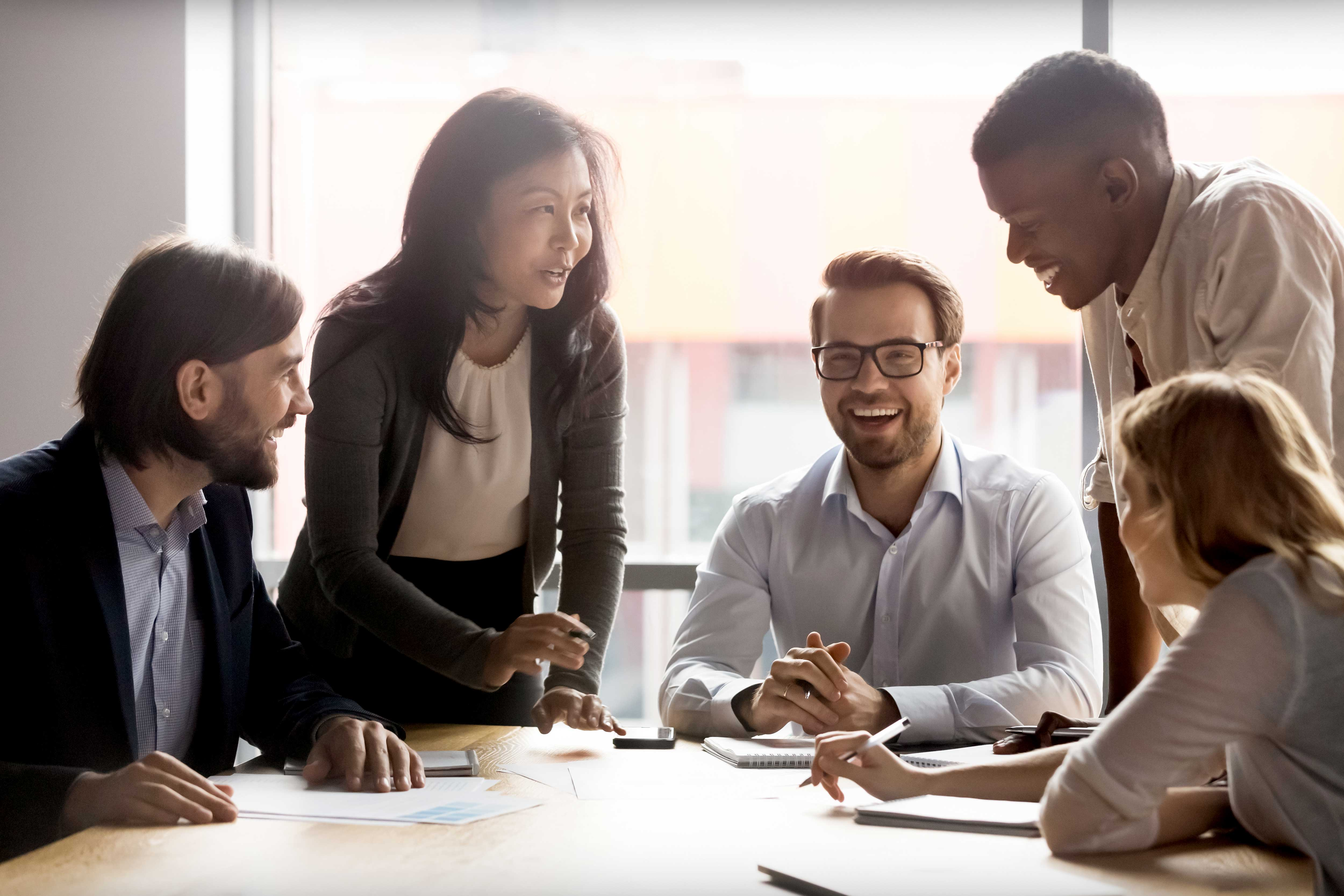 Diverse business people working together at an office
