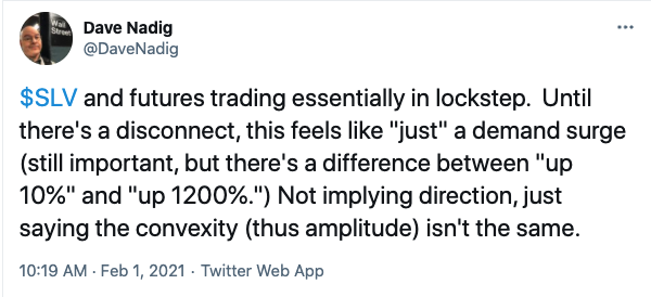 Dave Nadig tweet about silver prices